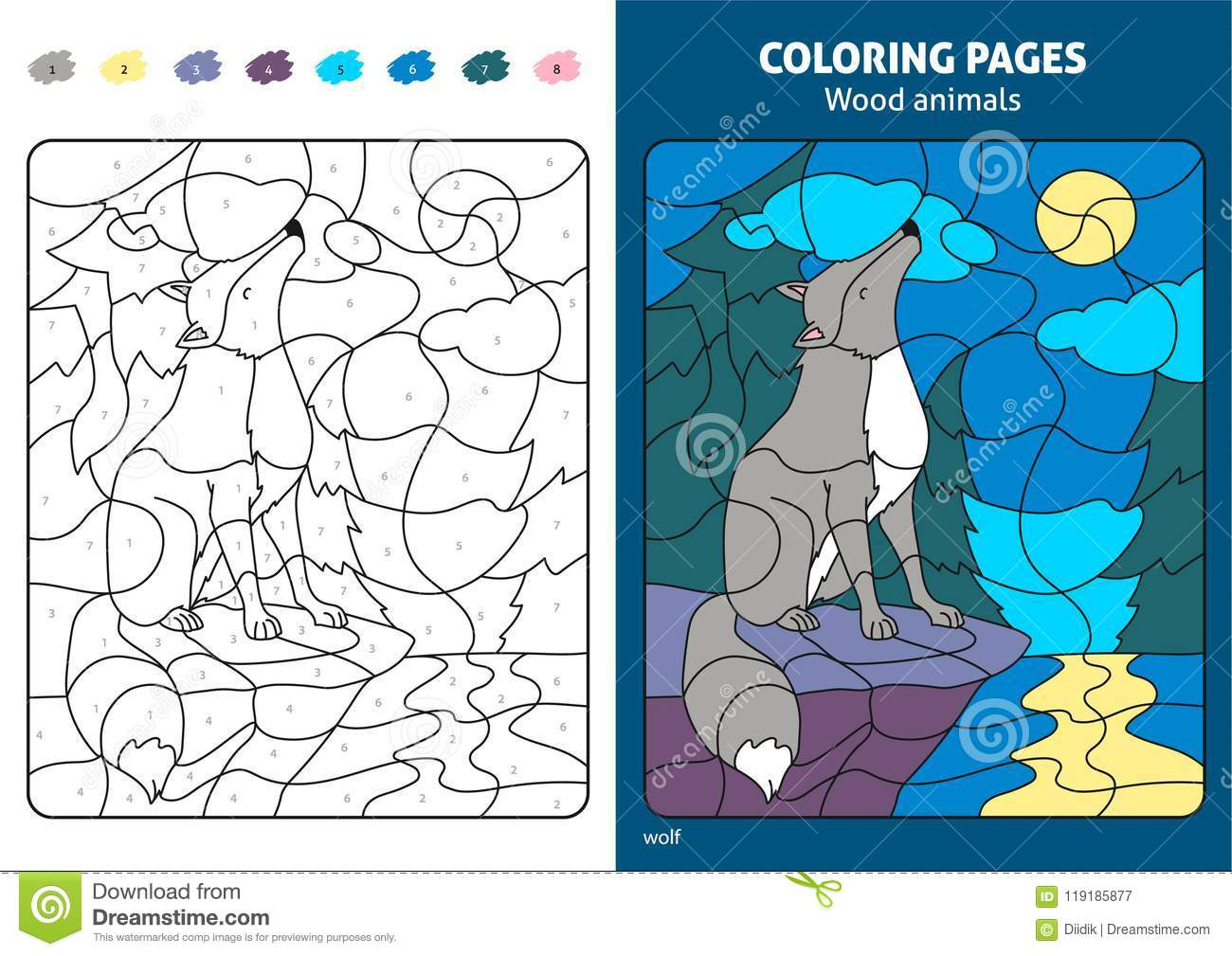 Wood Animals Coloring Page For Kids, Wolf. Stock Vector ...
