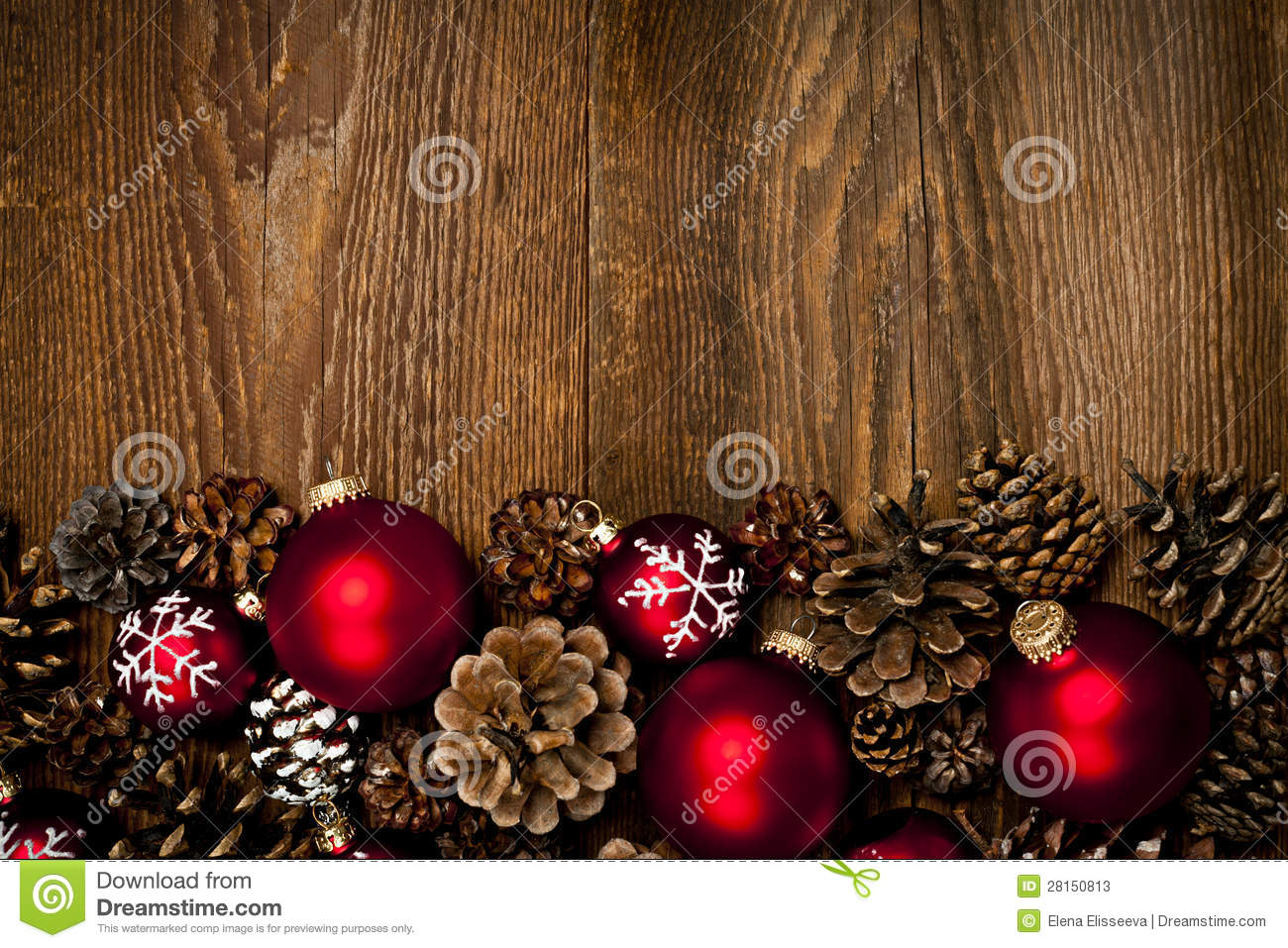 Wood Background With Christmas Ornaments Stock Image