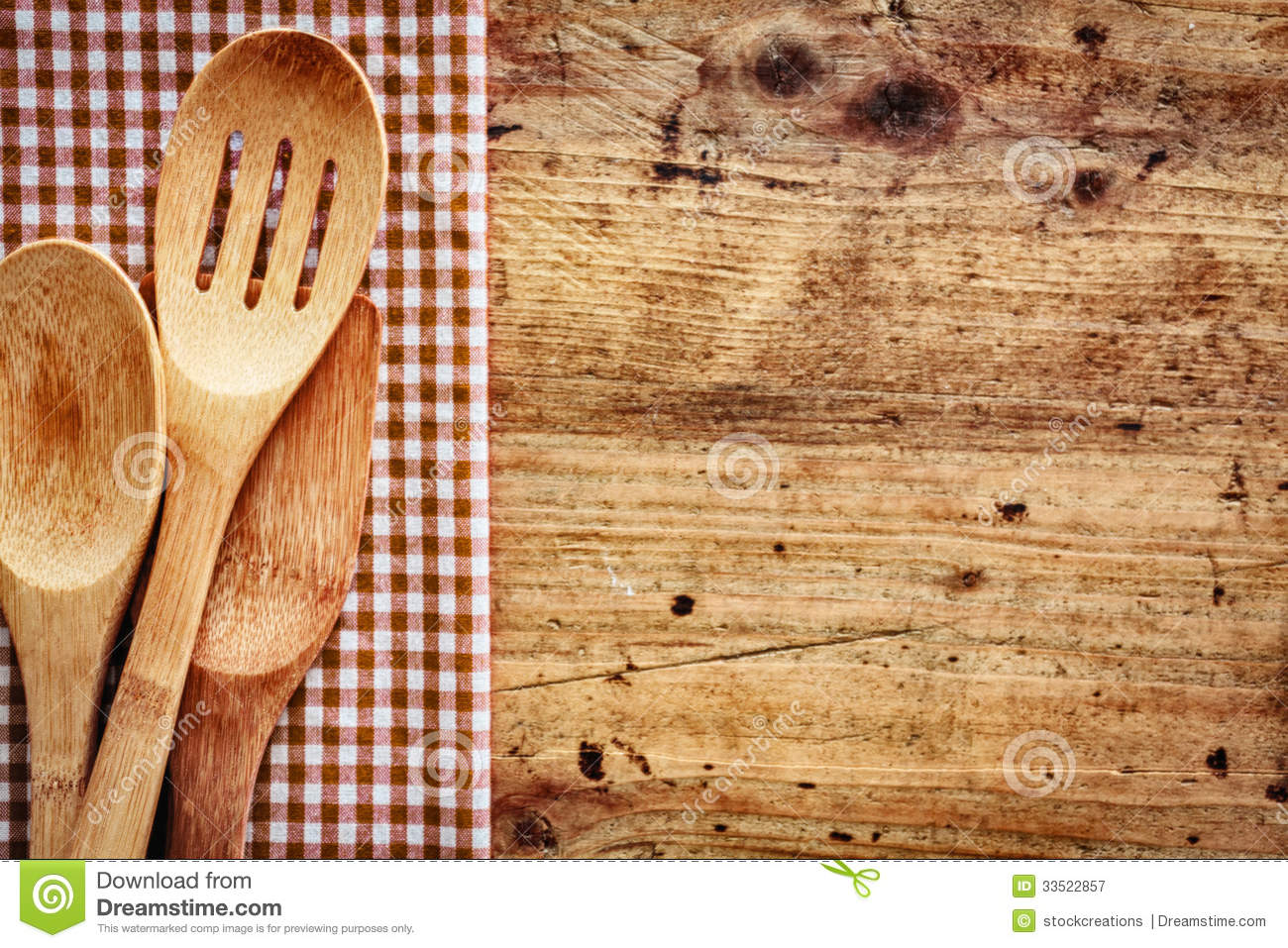 Kitchen Utensils Background wood background with kitchen utensils royalty free stock