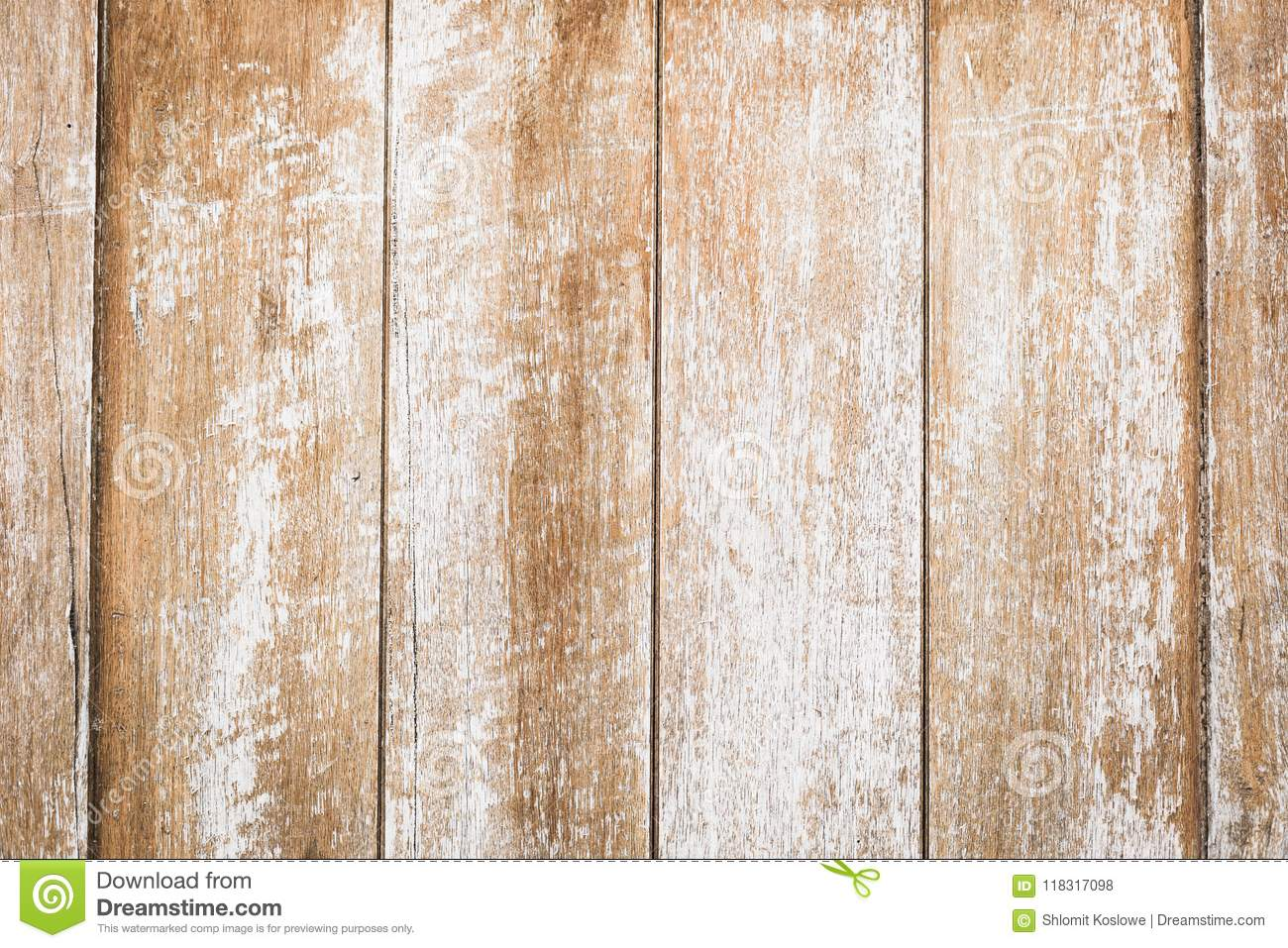 Wood background, old color peeling texture rustic deck