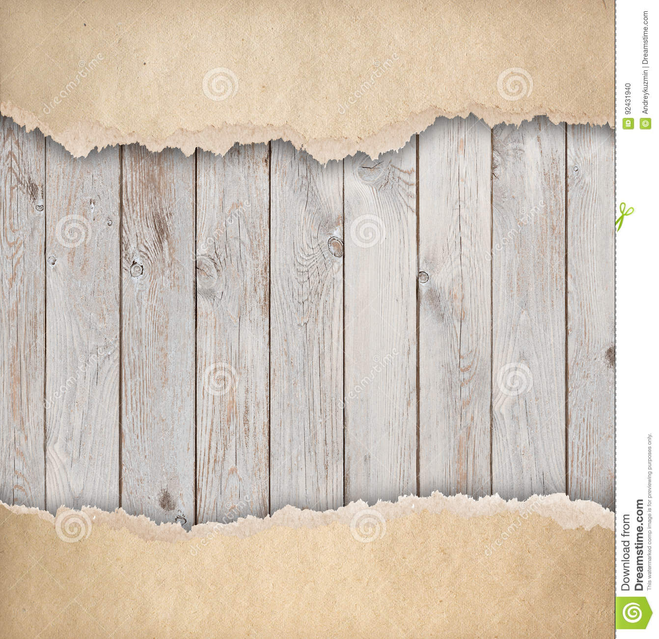 Wood Background With Old Torn Paper 3d Illustration Stock