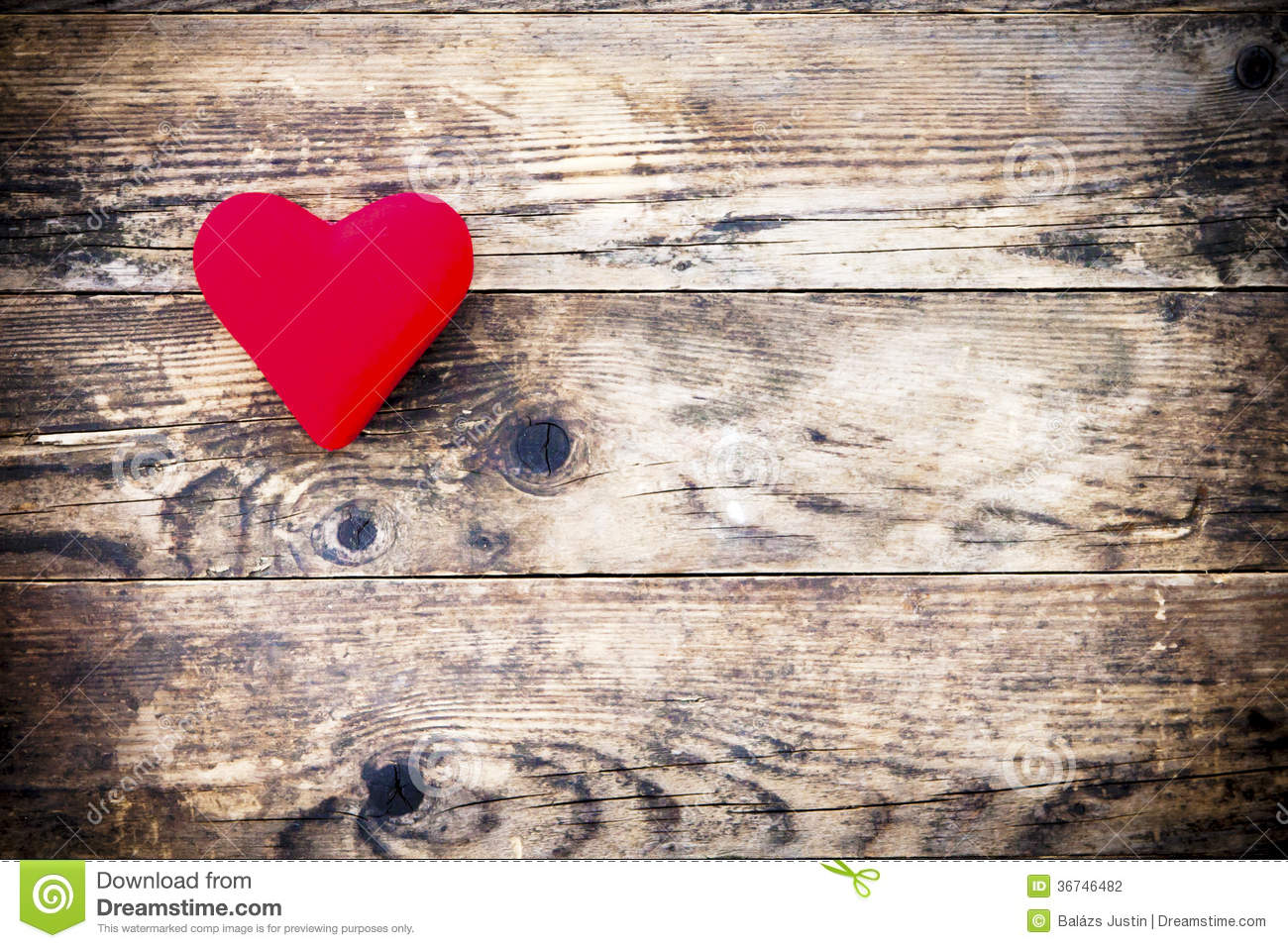 Wood Background With Red Heart And Nothing Else Stock Photo