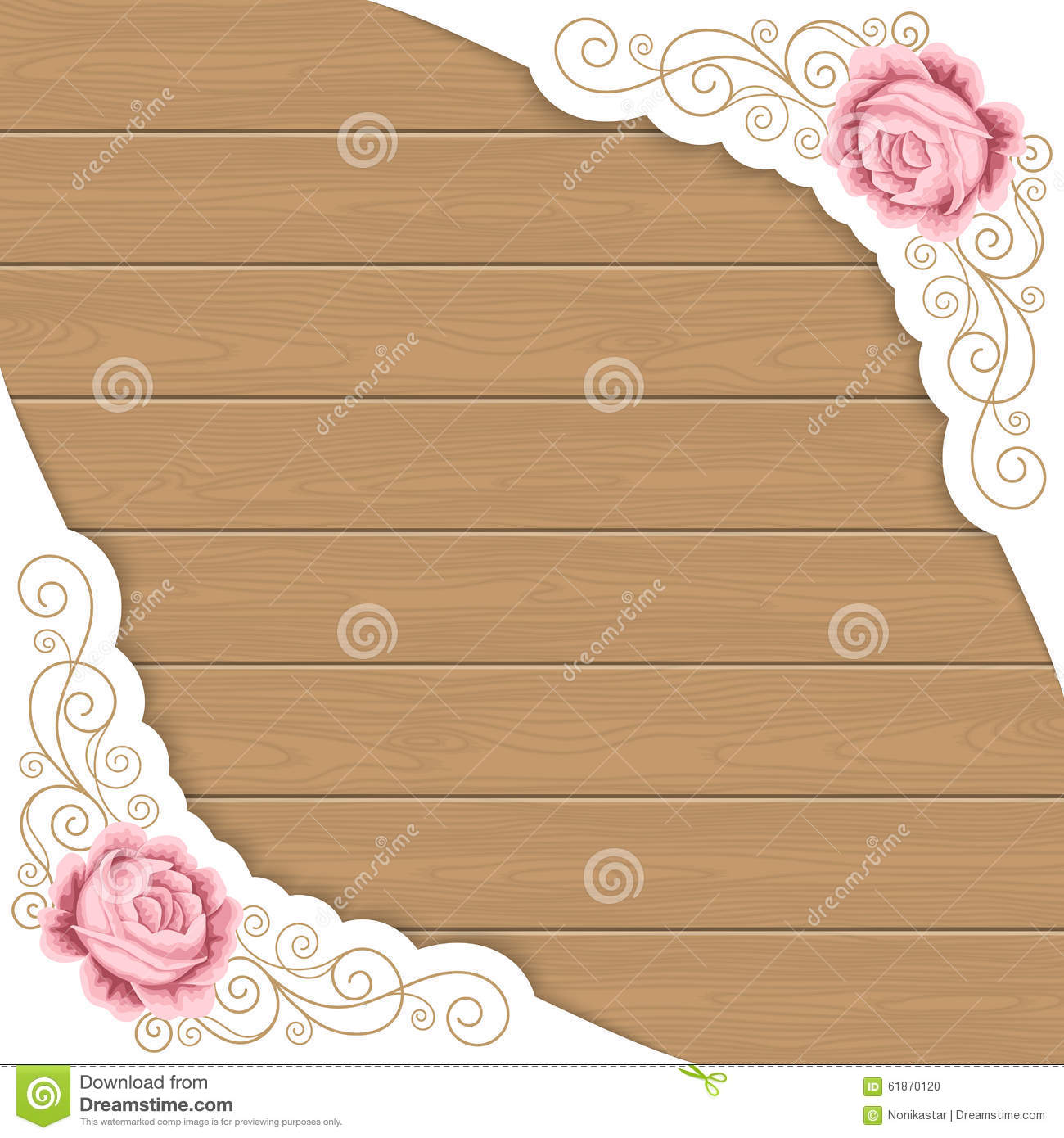 Wood Background With Roses Stock Vector Image 61870120