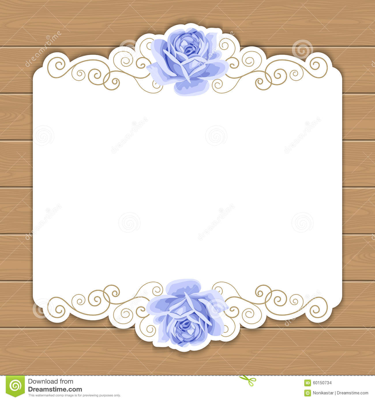 Wood Background With Roses Stock Vector Image 60150734