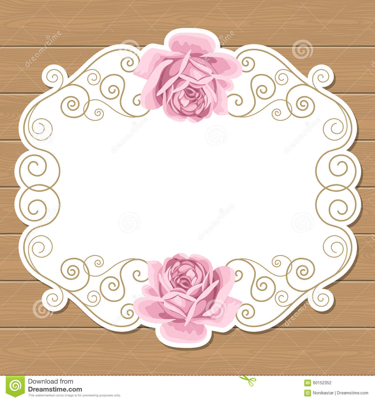 Wood Background With Hand Draw Roses And Gold Curly Oval Frame Shabby Chic Vector Illustration Invitation Greeting Card Template Place For Text