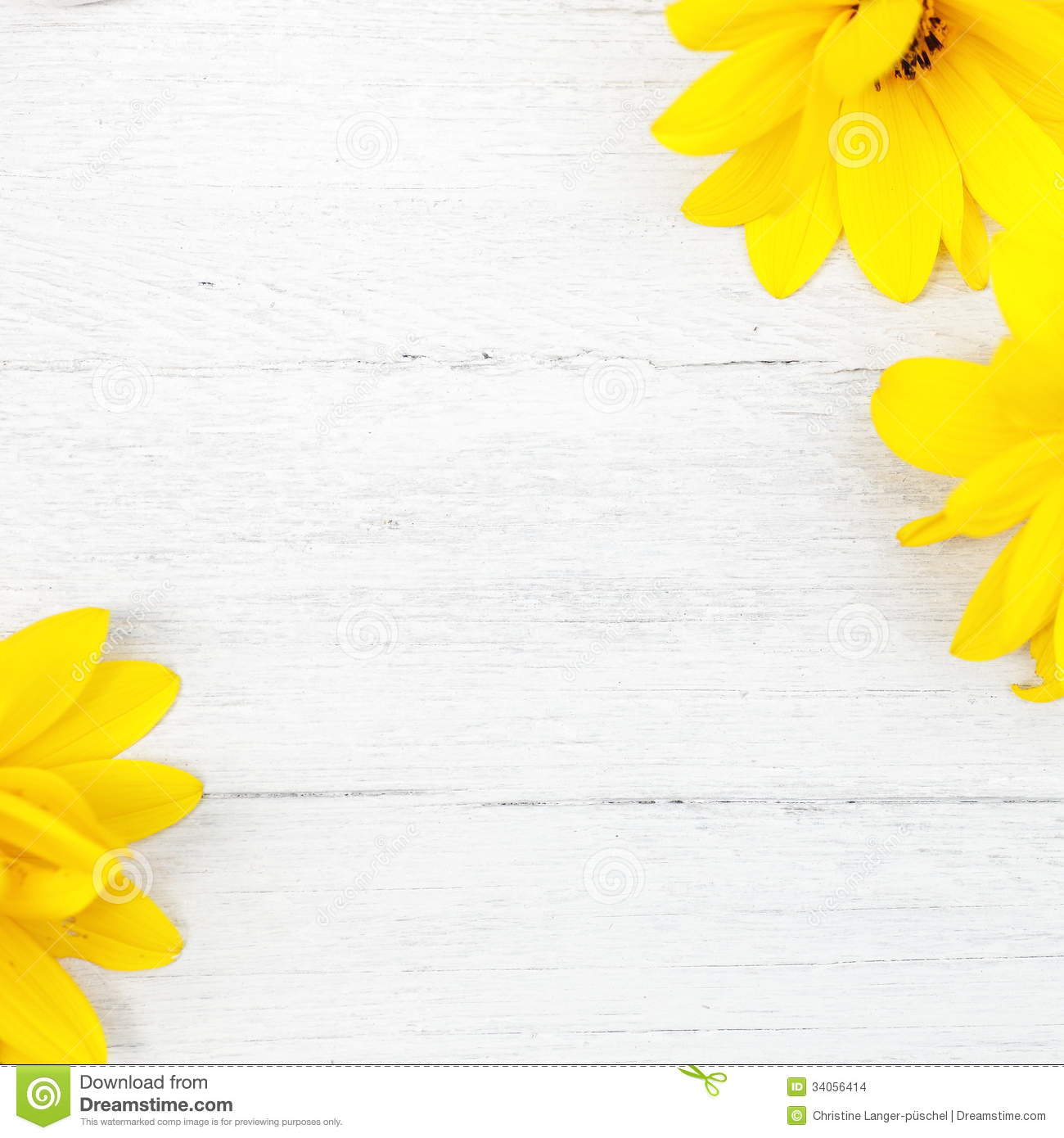 wood background with yellow flowers stock photo