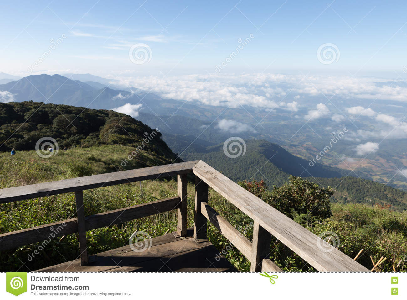Wood Balcony With Mountain View In Morning Stock Image Image Of