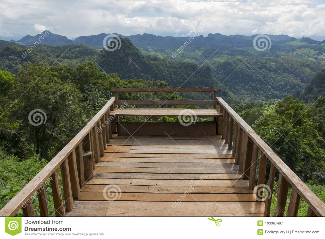 Wood Balcony With Mountain View Stock Image Image Of Wooden