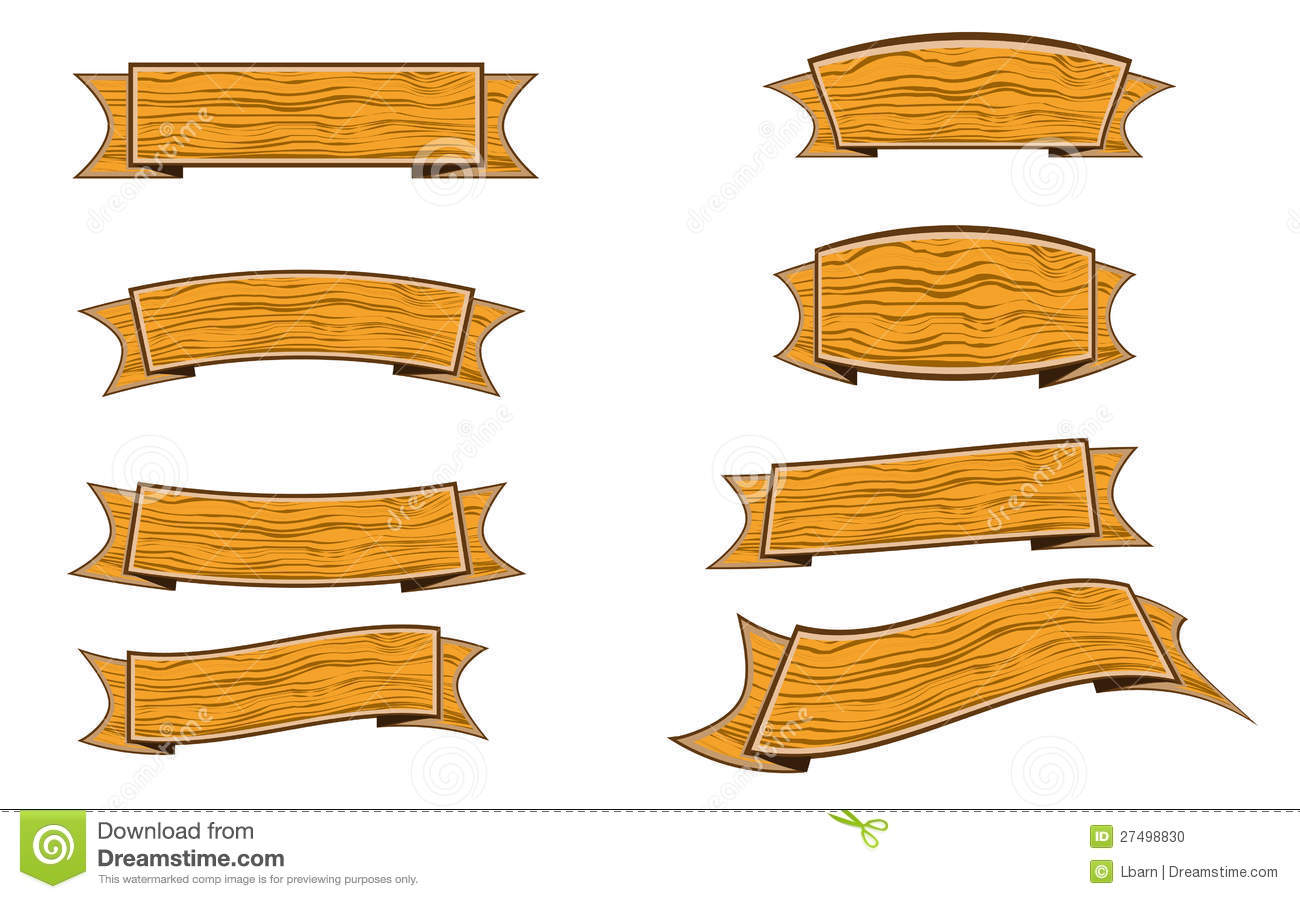 Gold ribbon banner transparent background clipart - Wood Banner Stock Photo Image 27498830