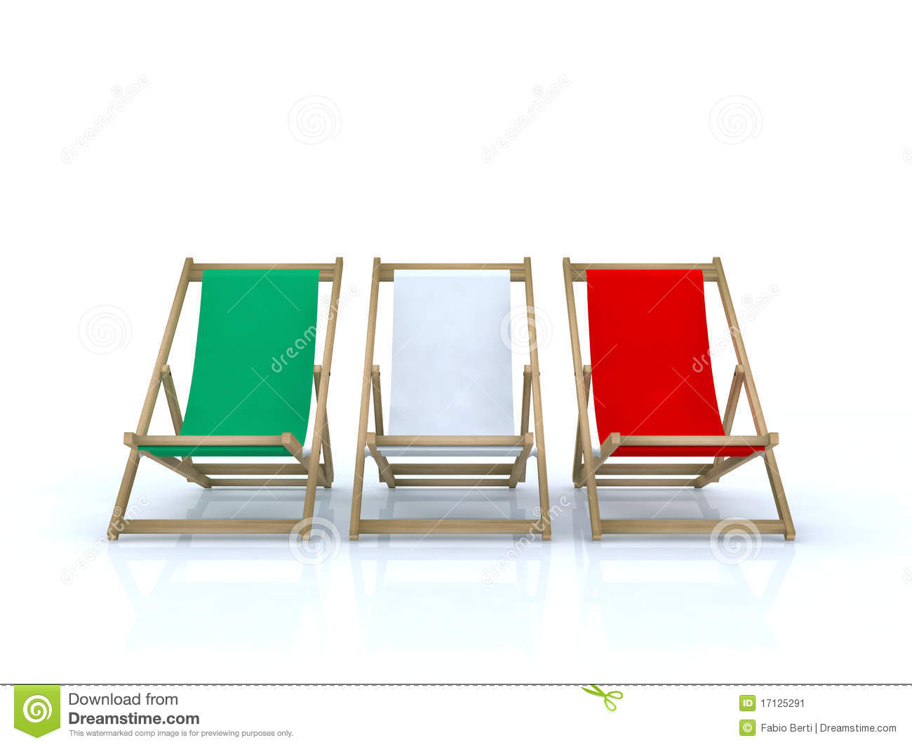 Wood Beach Chairs Italian Flag Stock Image - Image: 17125291