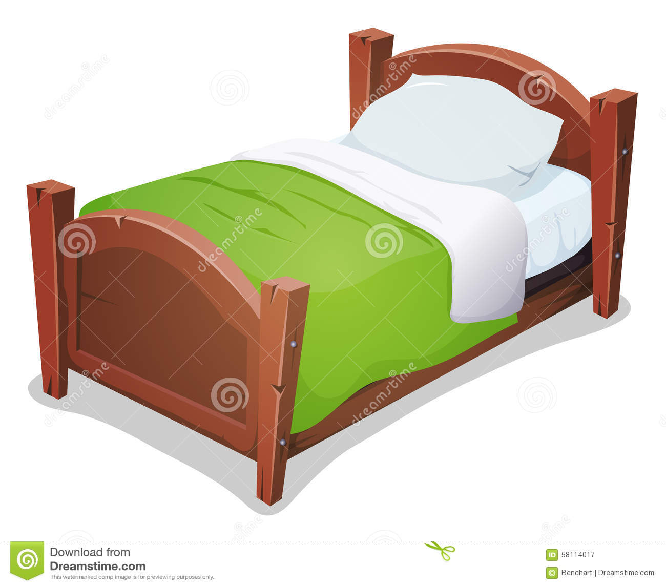 wood bed with green blanket stock illustration. Black Bedroom Furniture Sets. Home Design Ideas