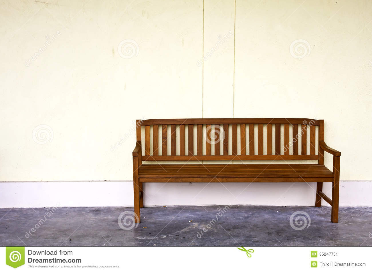 Unique Wood Bench Against Concrete Wall  Photo  Free Download