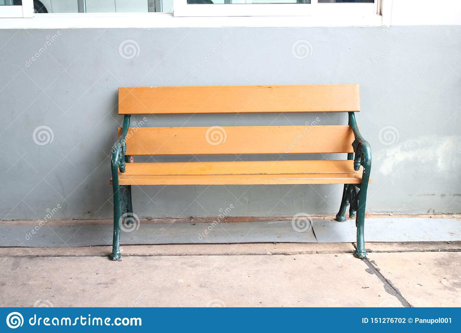 Wood bench on gray background