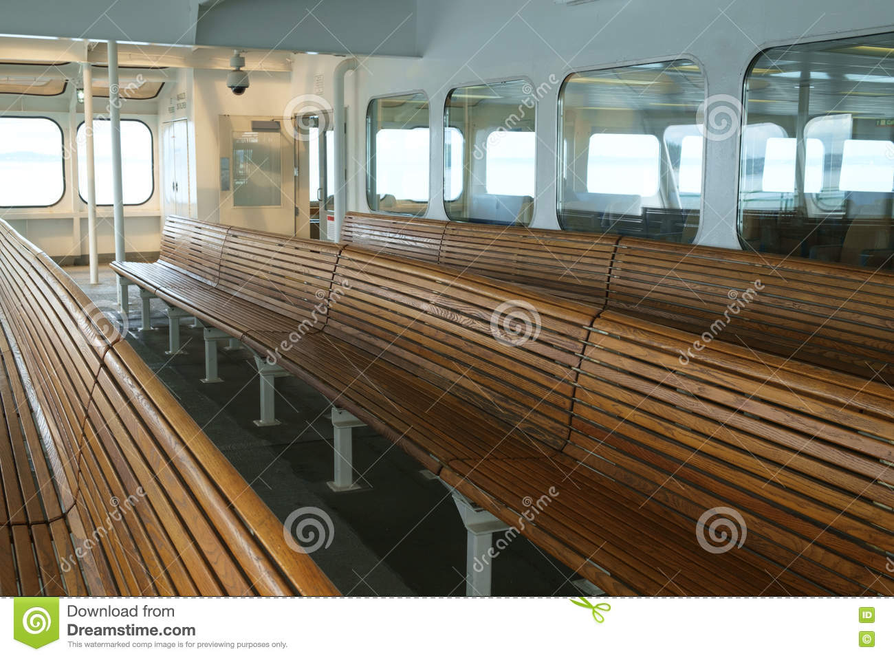 Brilliant Wood Bench Seating On Ferry Boat Stock Image Image Of Pabps2019 Chair Design Images Pabps2019Com