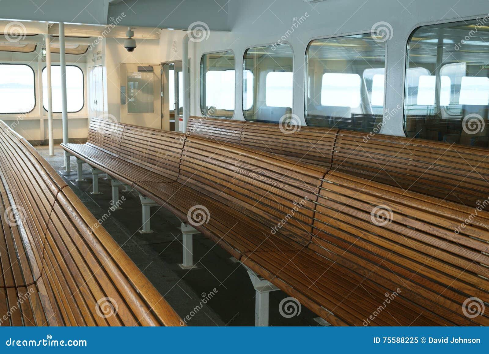 Sensational Wood Bench Seating On Ferry Boat Stock Image Image Of Spiritservingveterans Wood Chair Design Ideas Spiritservingveteransorg
