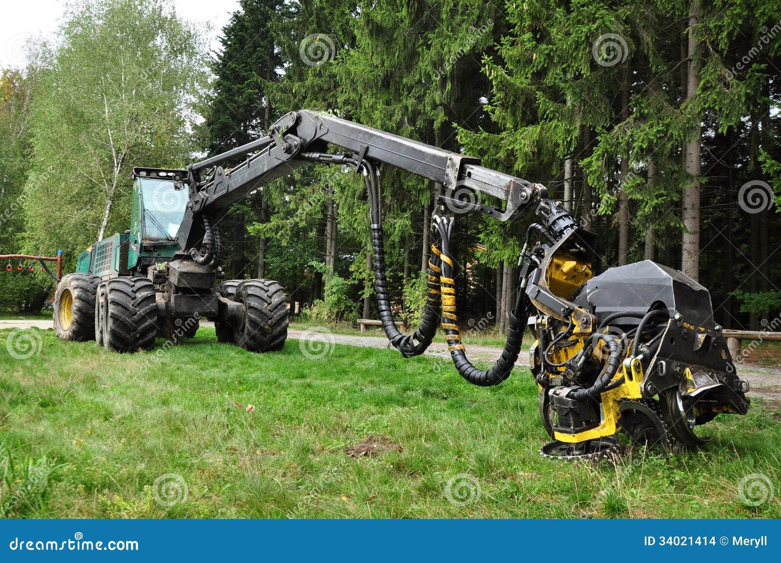 Wood bitande maskin, skördearbetare