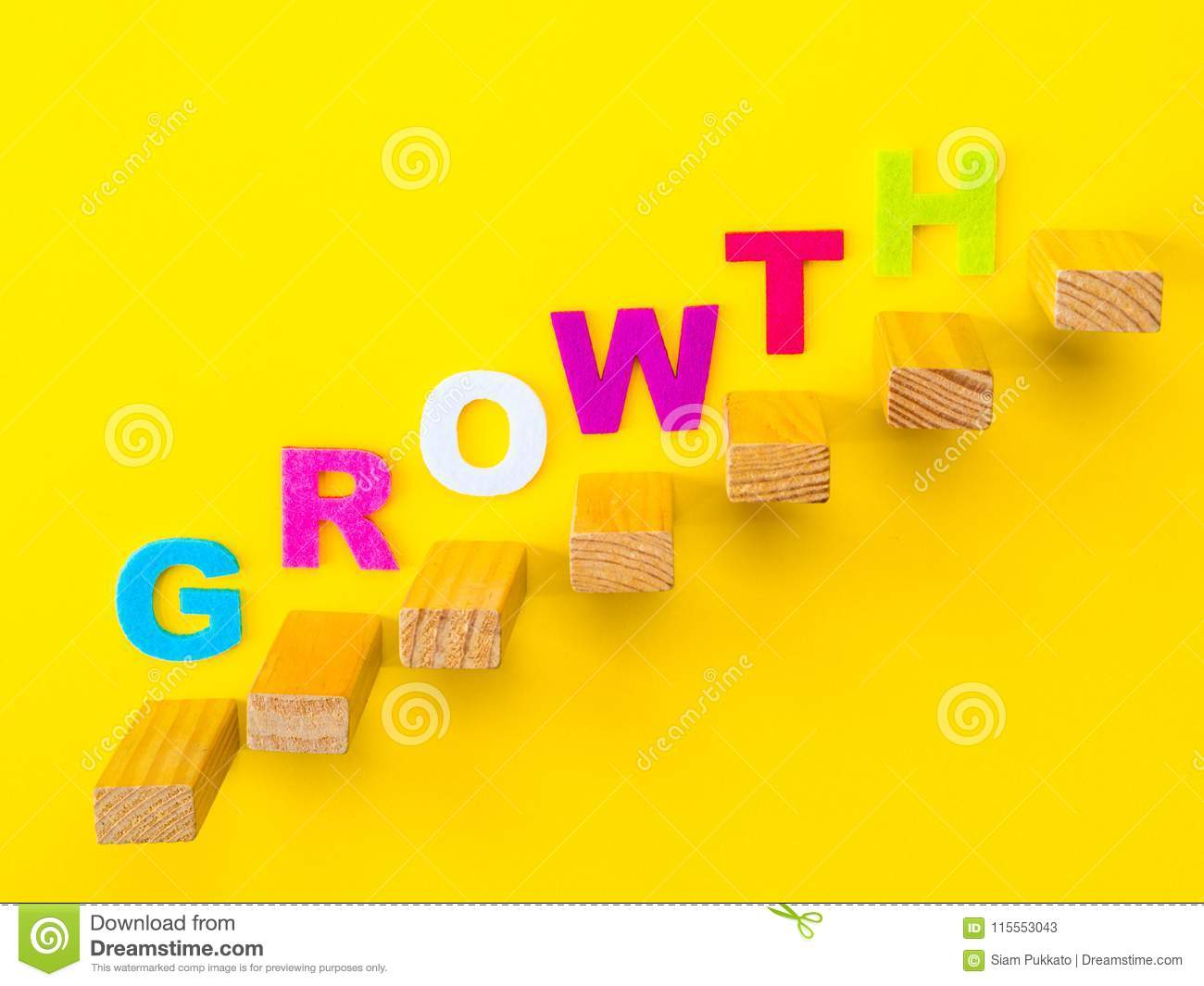 Wood Block Stacking As Step Stair With Colorful Of Growth Word