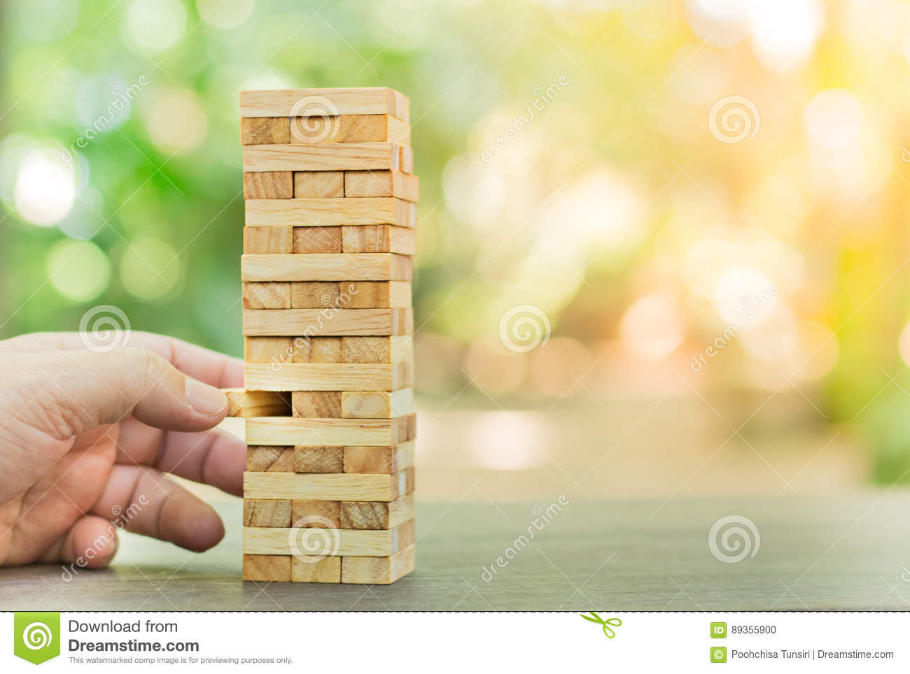 Wood Blocks Stack Game Planning Risk And Strategy Business