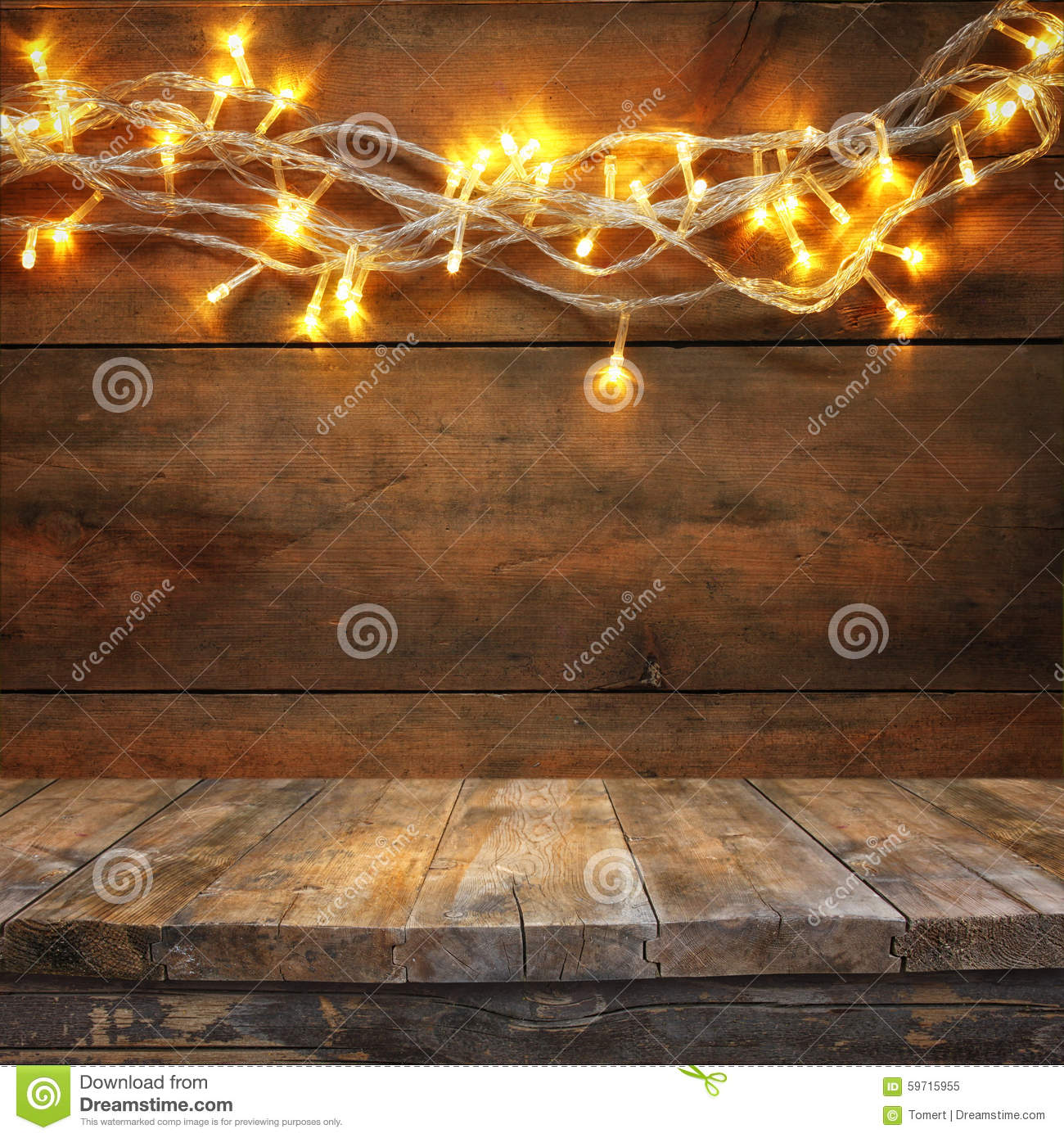 Download Wood Board Table In Front Of Christmas Warm Gold Garland Lights On Wooden Rustic Background. Filtered Image. Selective Focus Stock Image - Image of bright, abstract: 59715955