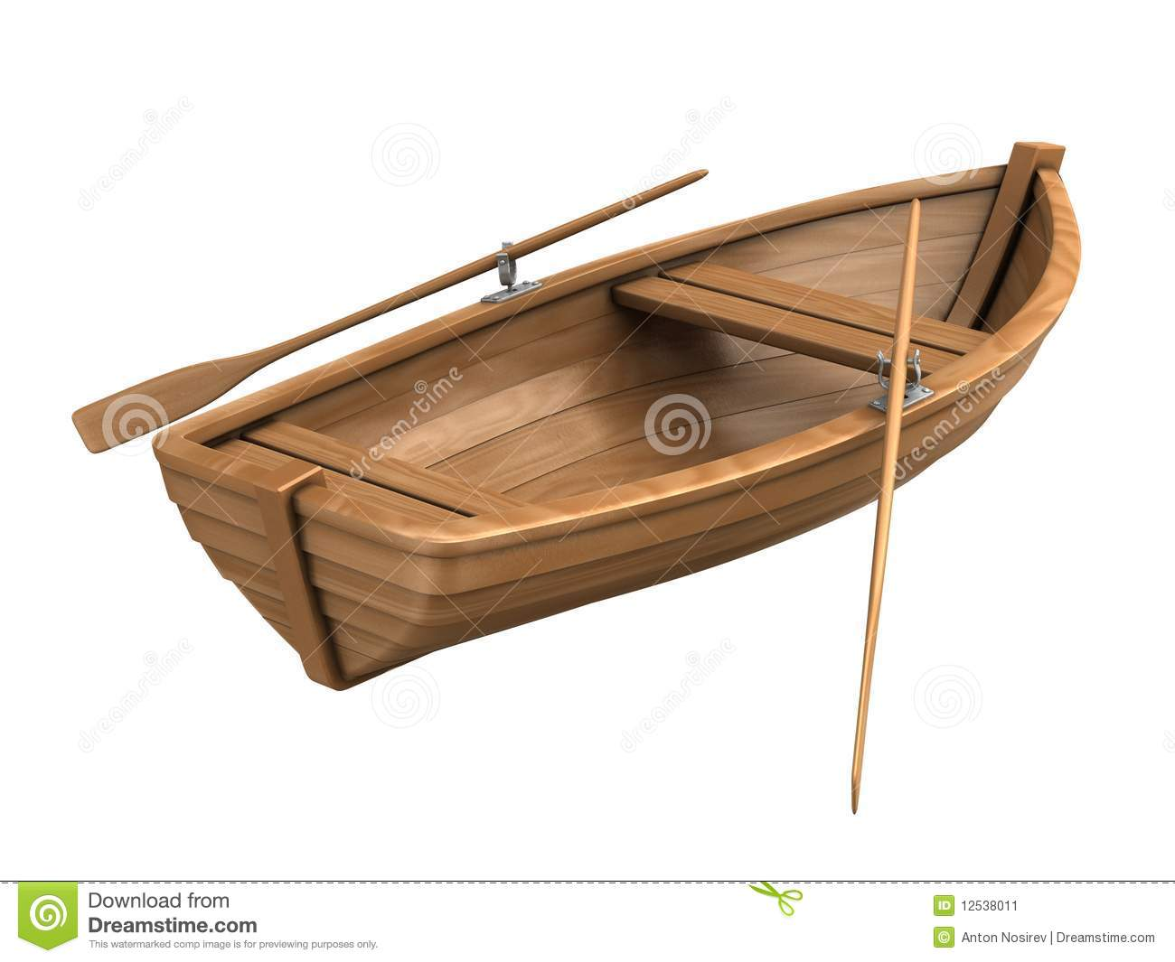 Wood Boat Isolated On White Transport Morning