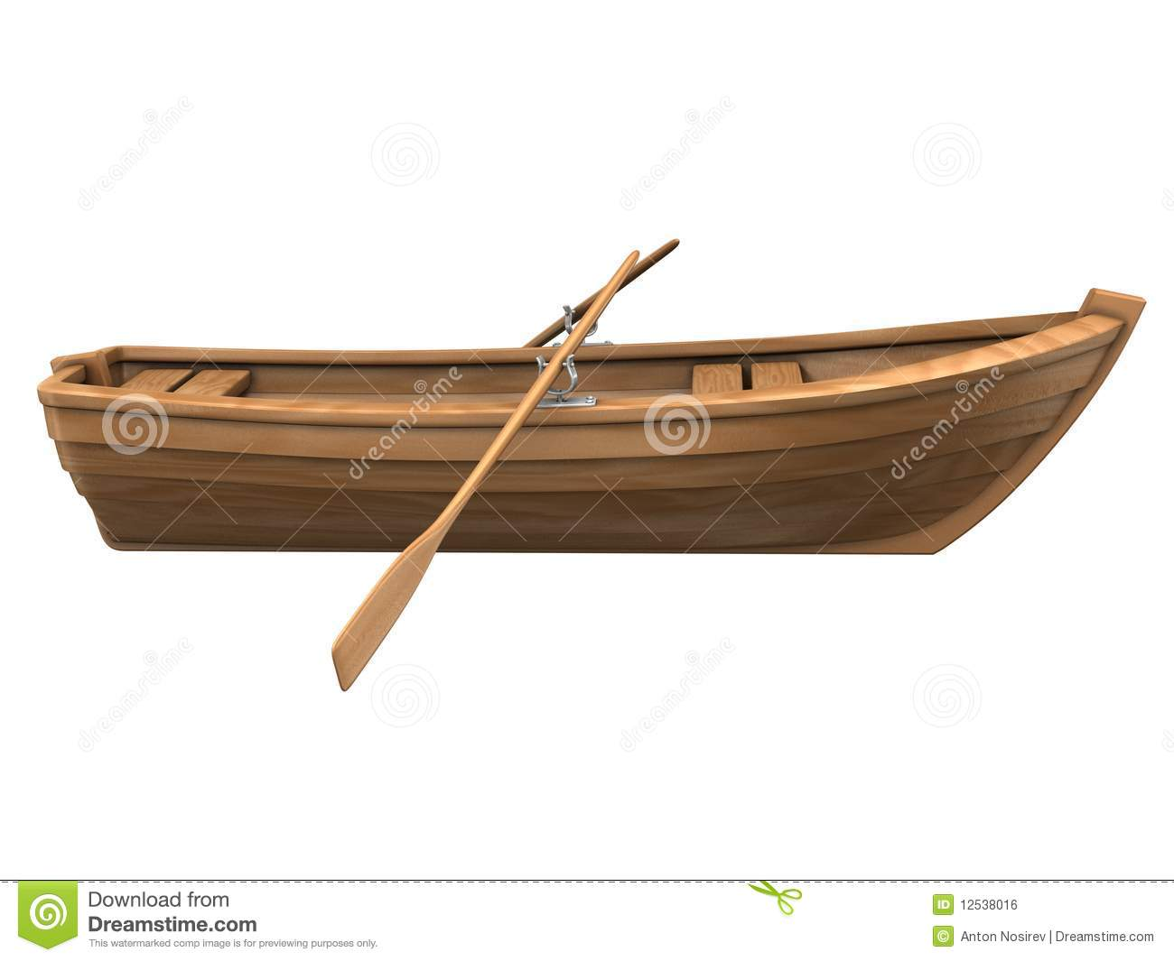 Wood Boat Isolated On White Royalty Free Stock Image - Image: 12538016