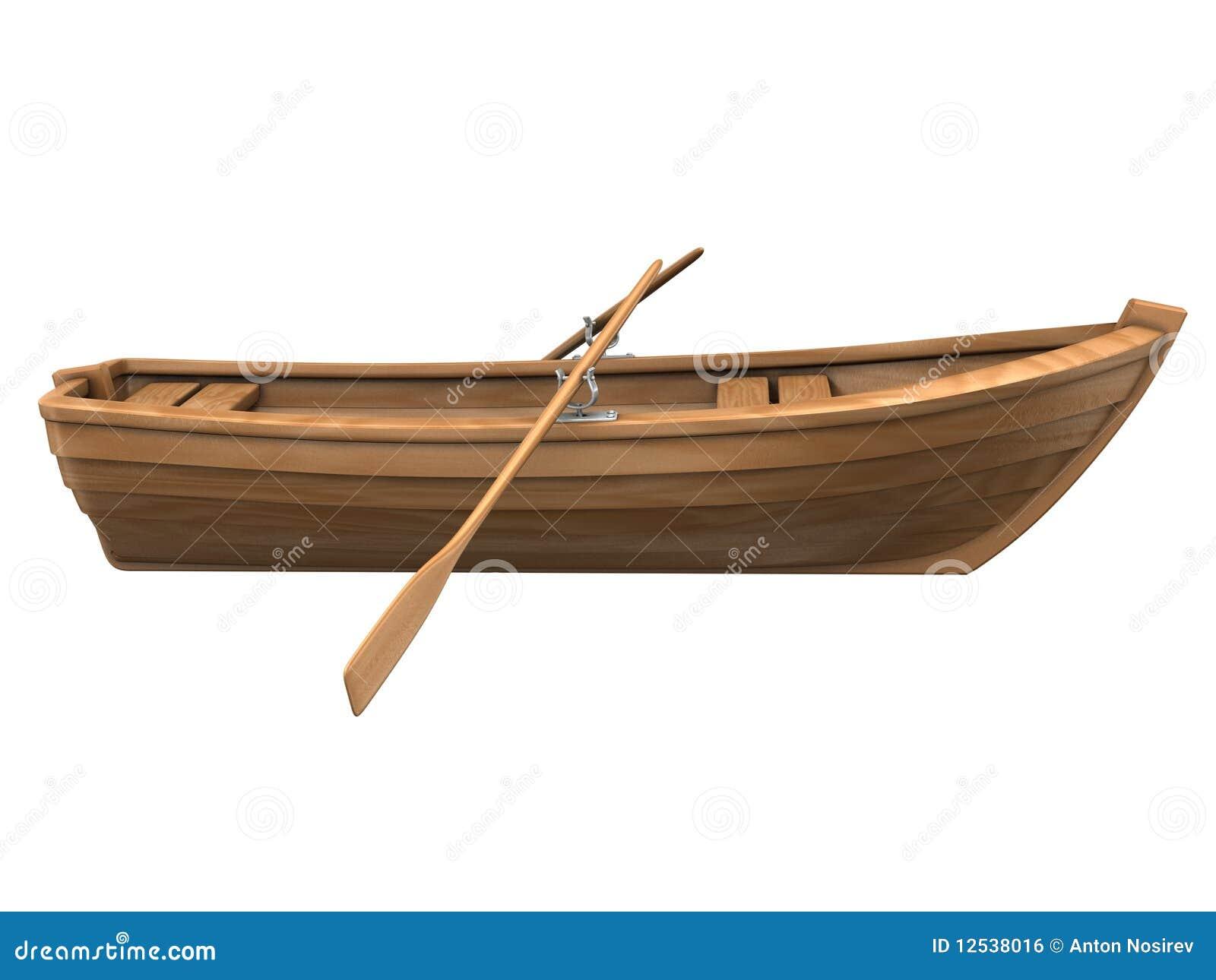 Wood Boat Isolated On White Royalty Free Stock Image - Image: 12538016