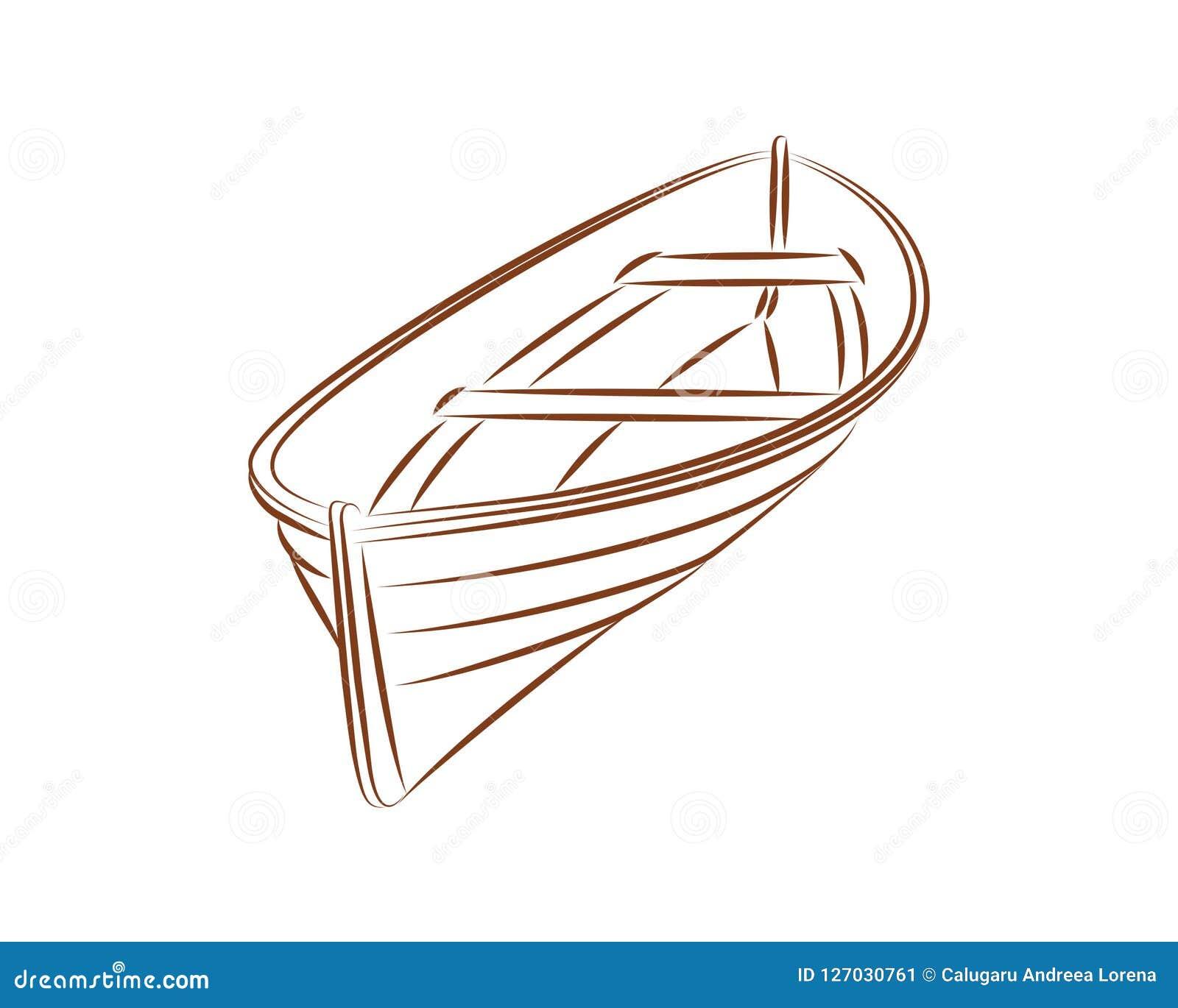 Wood boat vector line