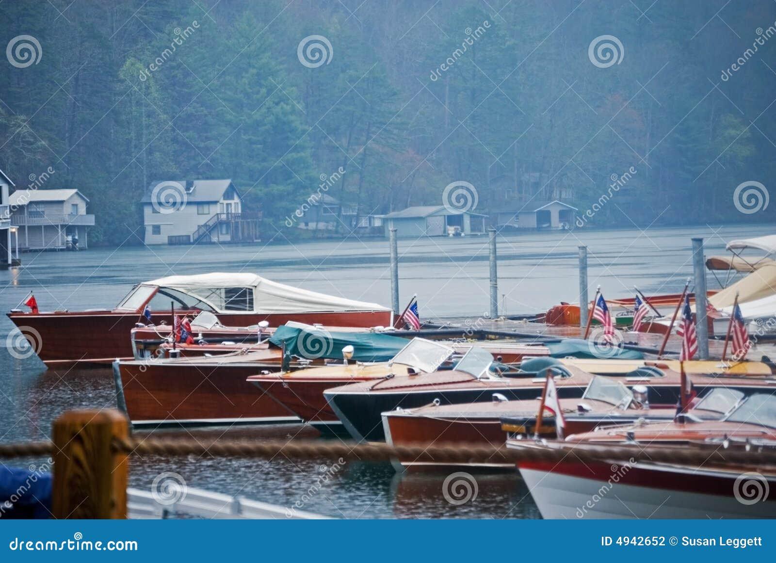 Wood Boats in the Rain