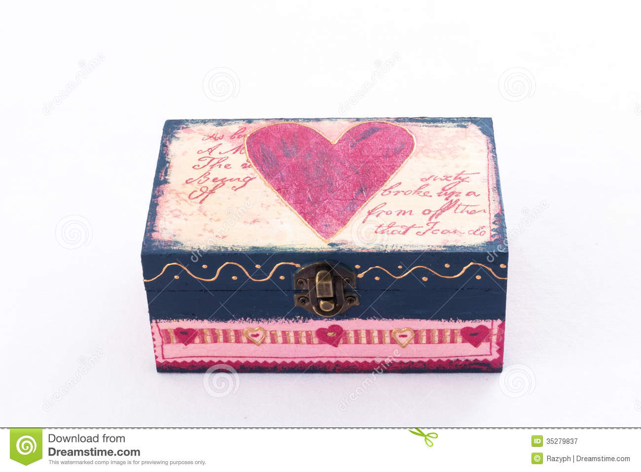 Wood box with pink heart painted