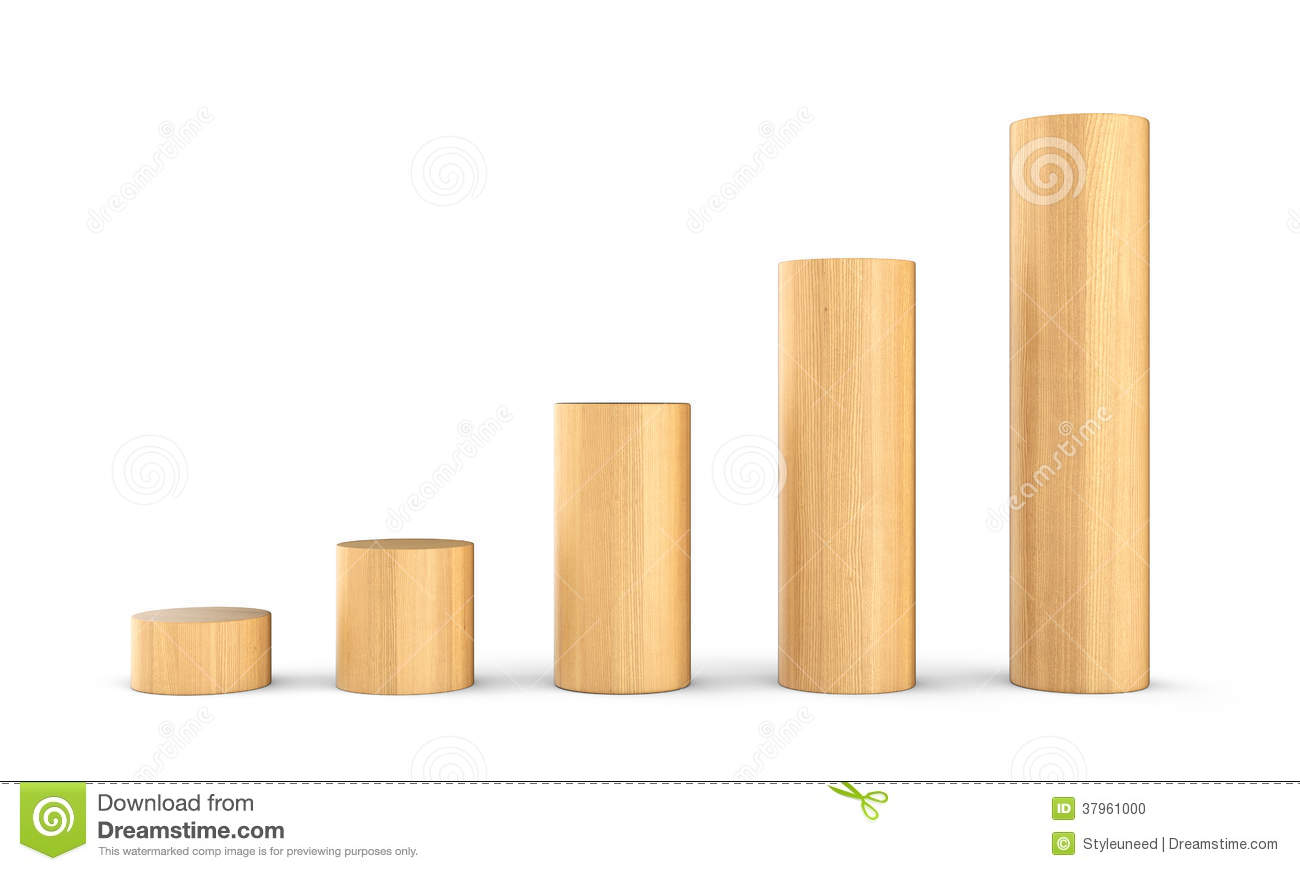 Wood Bricks Of Increasing Height Stock Photo - Image: 37961000