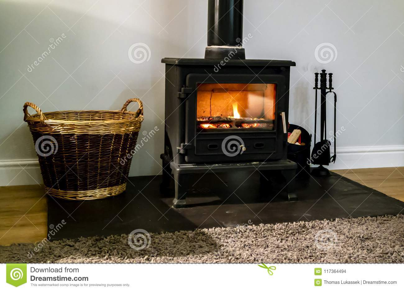 Wood Burning Fireplace With Glass Door Stock Photo Image Of Door