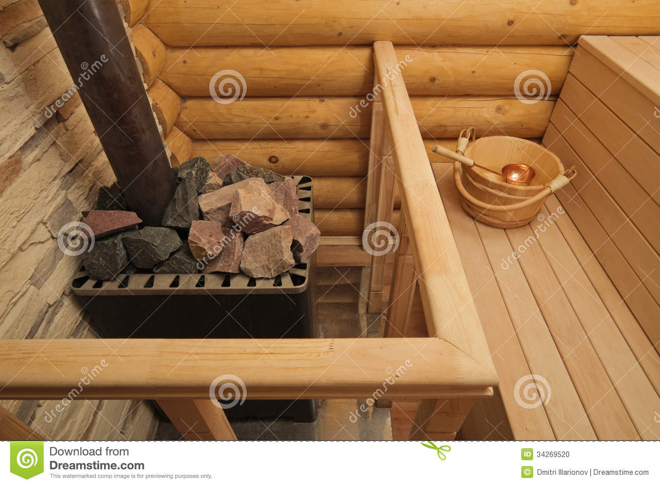 Wood Burning Heater In Sauna Stock Photo Image Of Steam