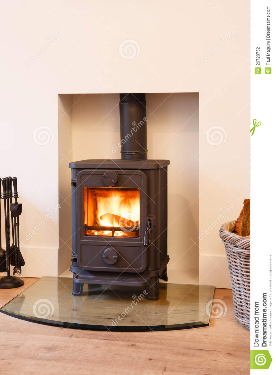 Wood burning stove stock photo. Image of flue, fireside ...