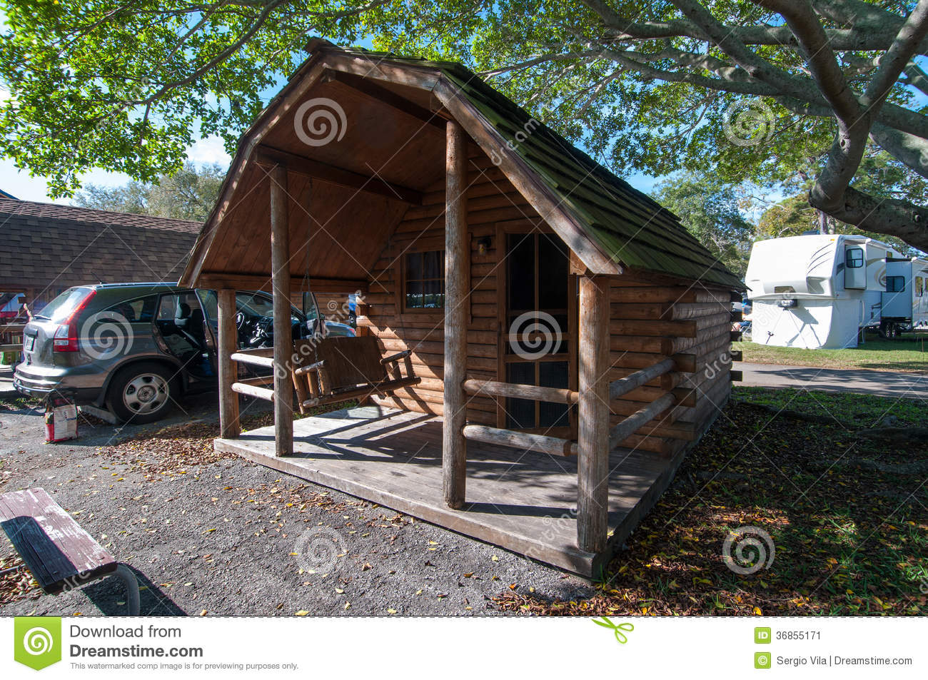 Wood cabin stock image image 36855171 - The recreational vehicle turned cabin in the woods ...