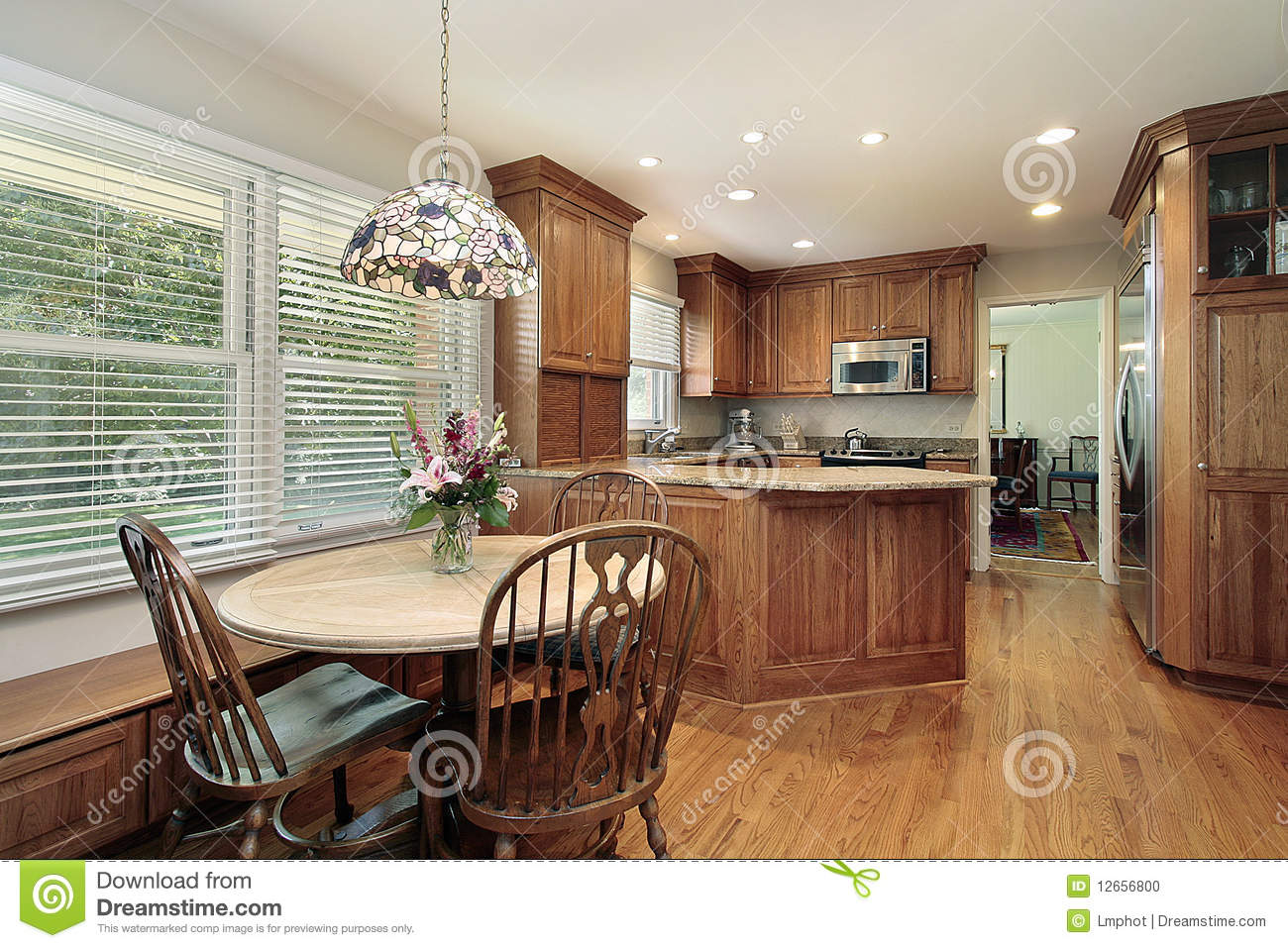 Wood Cabinet Kitchen And Eating Area Stock Photo Image