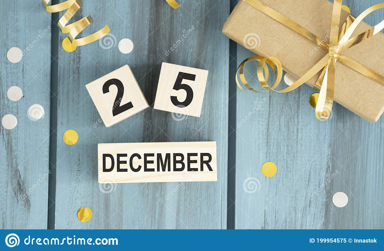 Wood Calendar Blocks With The Date December 25th To Mark Christmas Day With Bokeh Lights Black And White Buffalo Check Stock Image Image Of Wooden Rustic 199954575