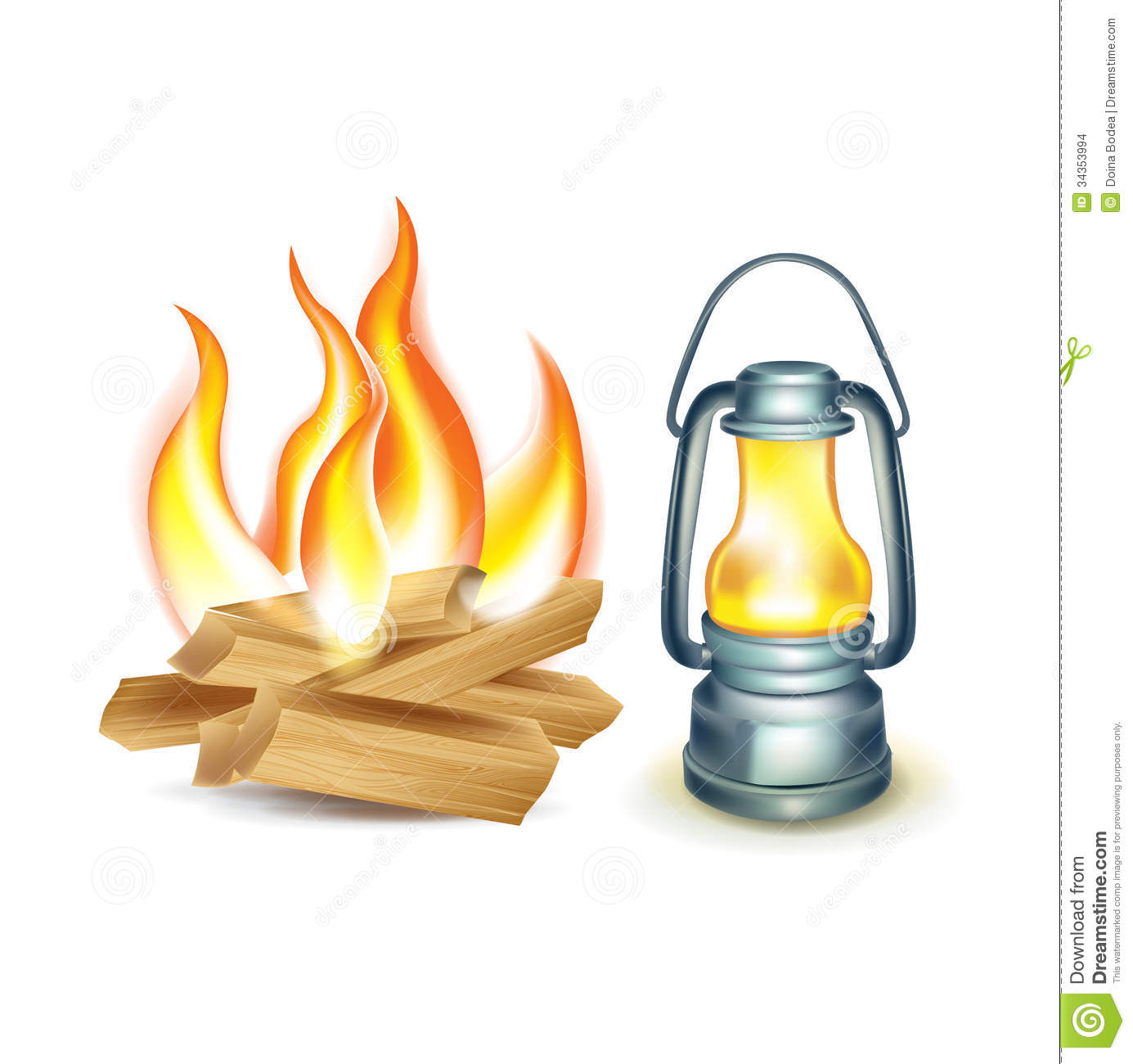 Wood Camp Fire And Oil Lamp Isolated Stock Vector - Illustration ... for Oil Lamp Clip Art  146hul