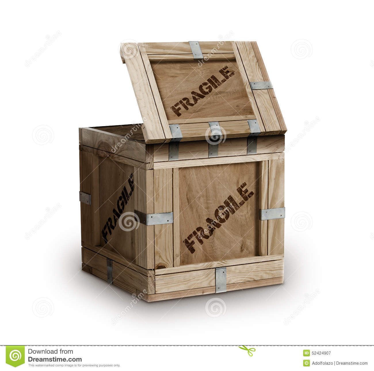 Wood Cargo Box Marked Fragile Stock Photo Image 52424907