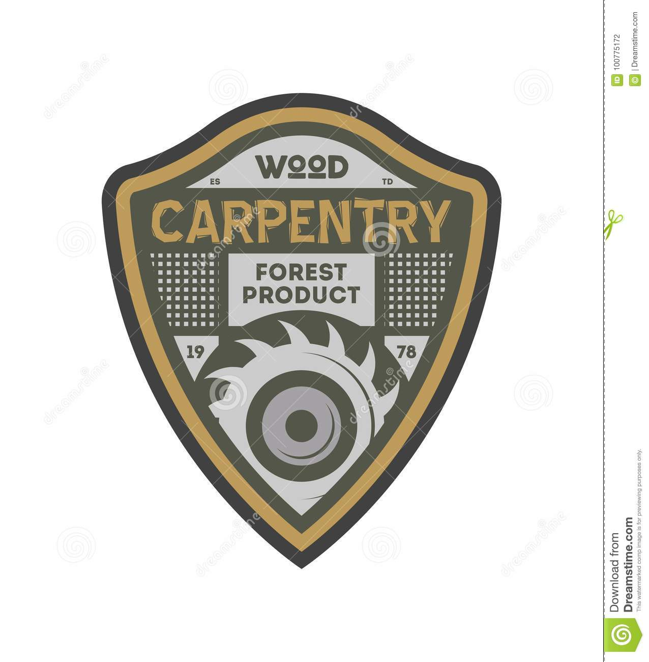 Wood Carpentry Vintage Isolated Label Stock Vector Illustration Of