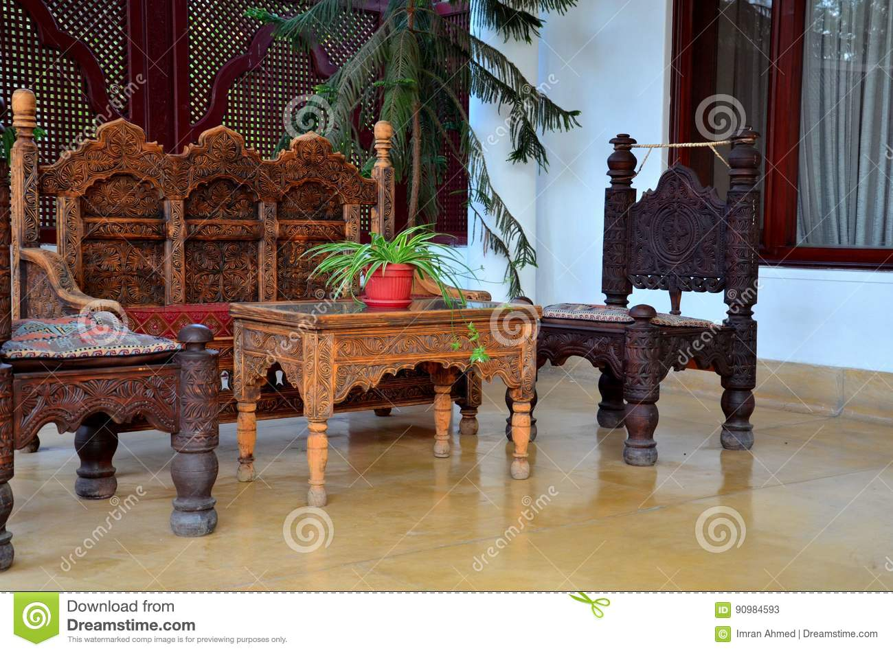 Wood Carved Handicraft Seat Chairs And Sofa Swat Valley Pakistan