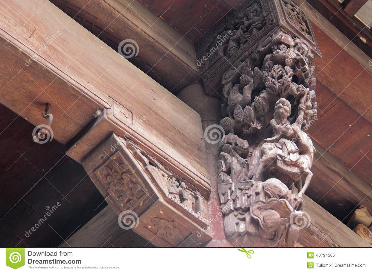 Wood Carving In Ancient Chinese Building Stock Photo