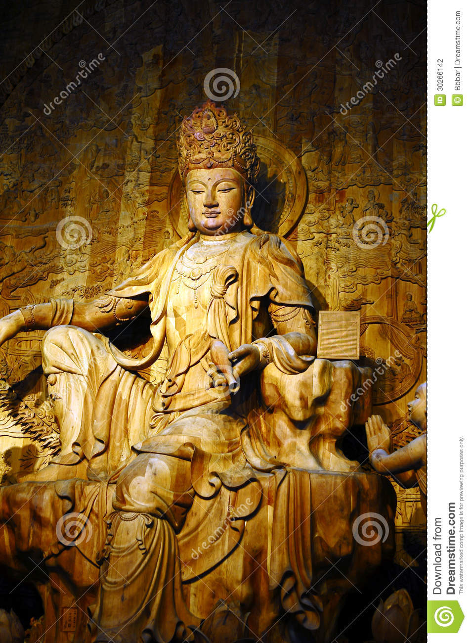 Wood Carving Buddha Stock Photo Image Of Building