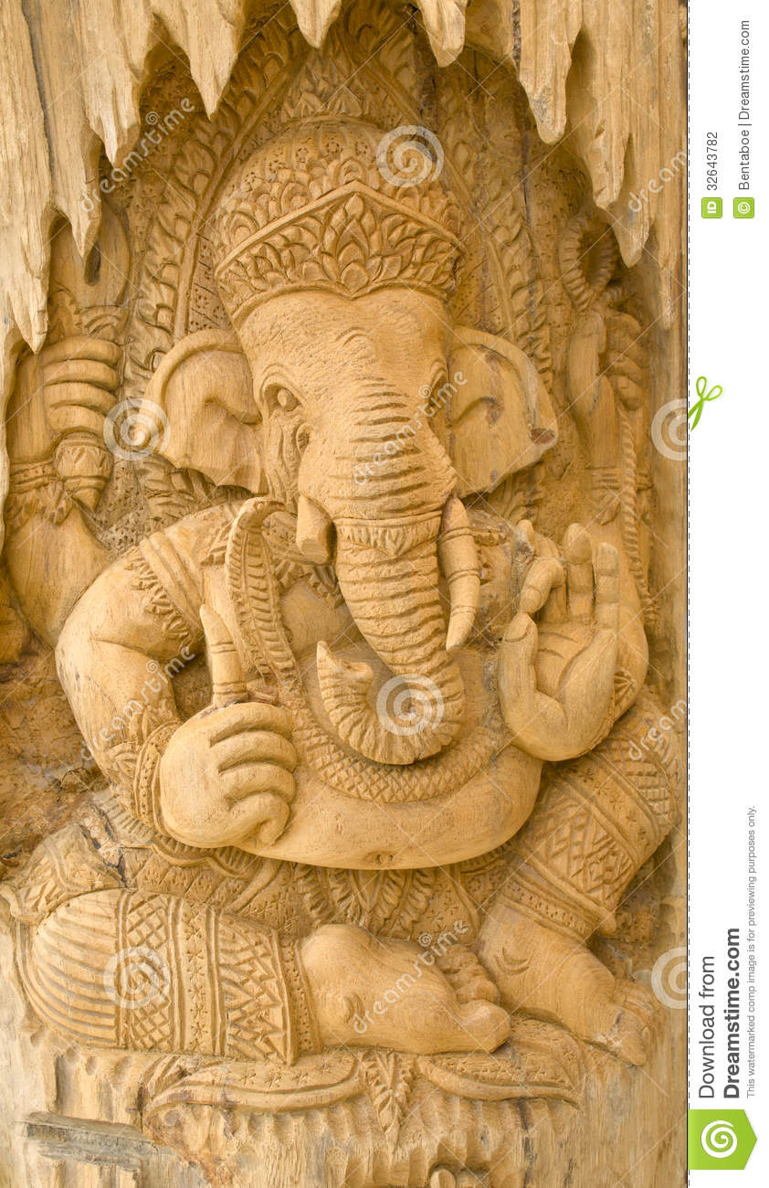 Wood Carving Of Ganesha Stock Photo Image Of Pattern