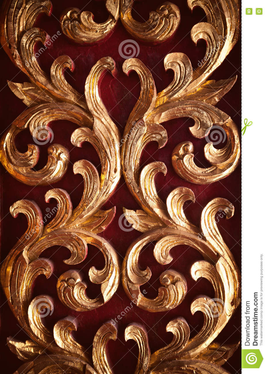 Wood Carving Gold And Red Decoration Background Wall