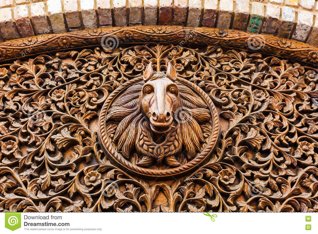 Wood Carving Of A Horse Head Stock Image Image Of Building Wood 76060927