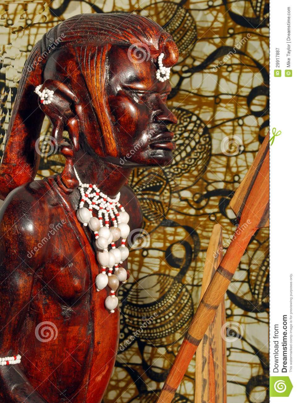 African Warrior Wood Carving Stock Image Image 29917887