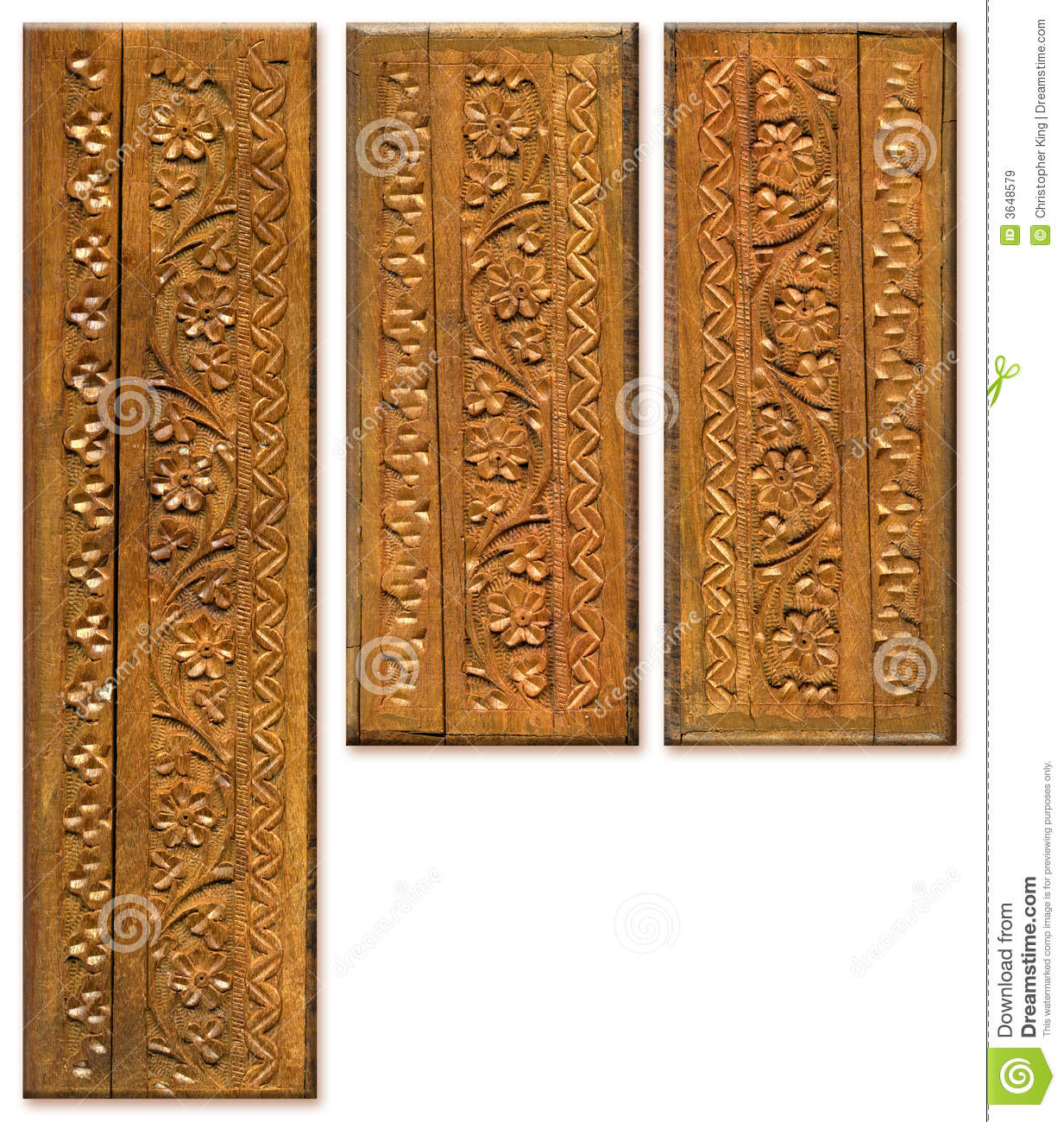Wood Carving Pattern Design Elements Stock Image Image