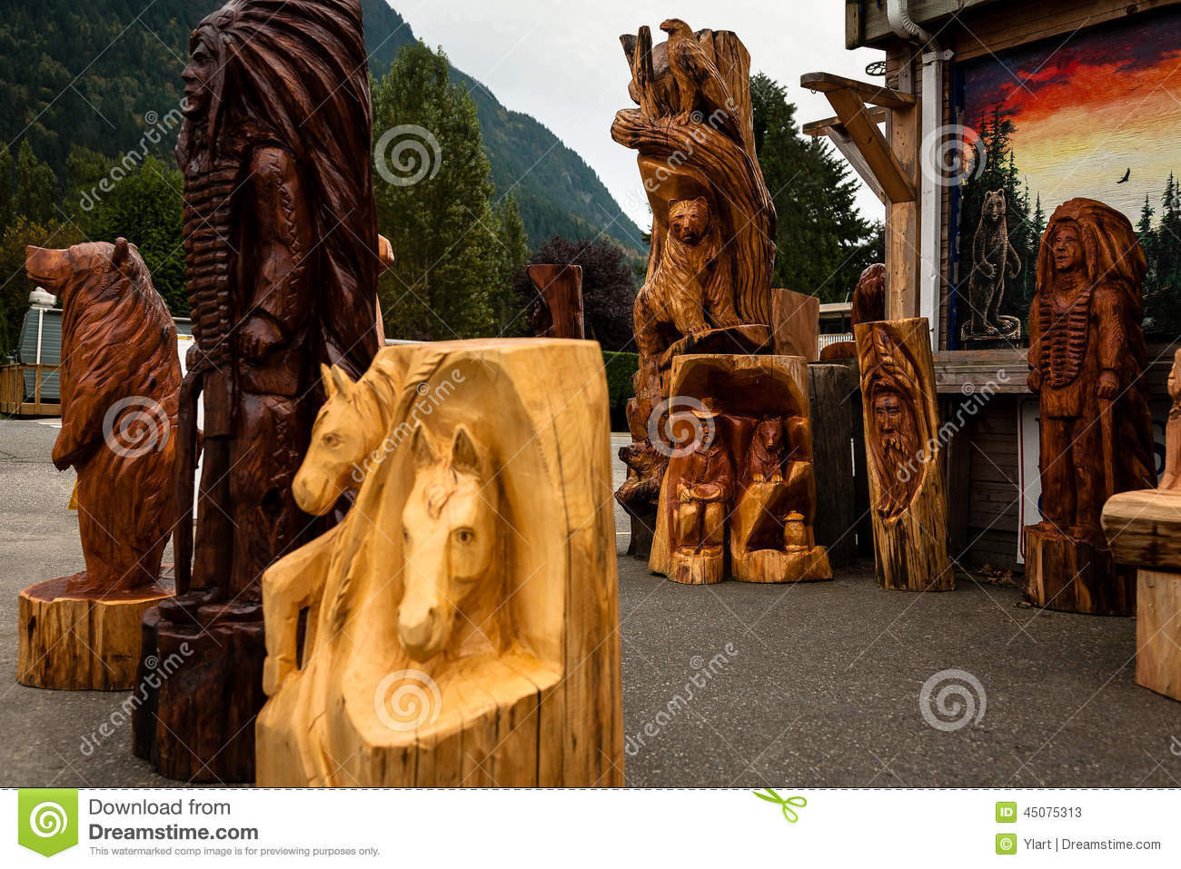 Wood carving statues editorial stock photo image of