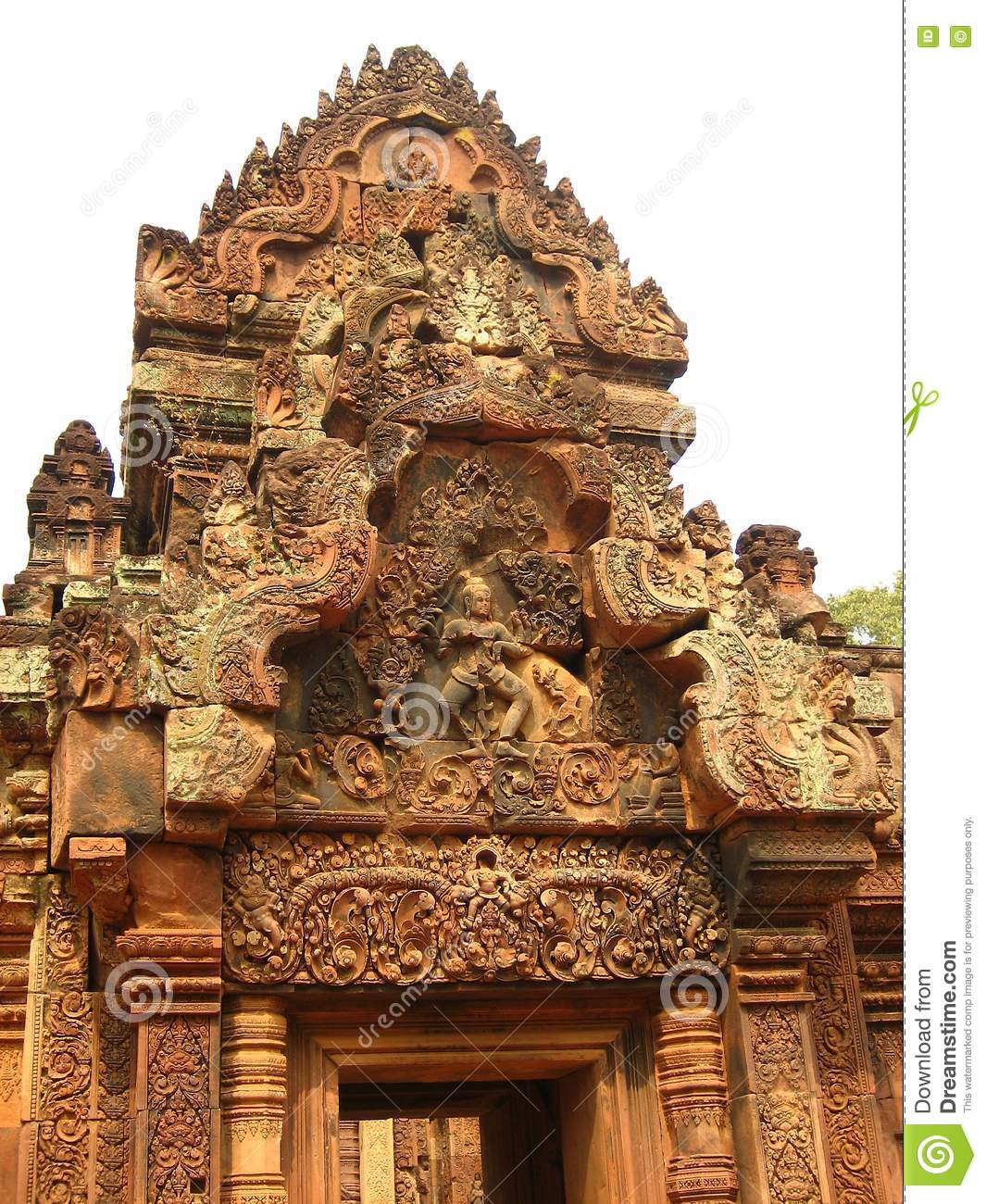 Wood Carving On A Temple In Angkor Wat, Cambodia Royalty Free Stock ...