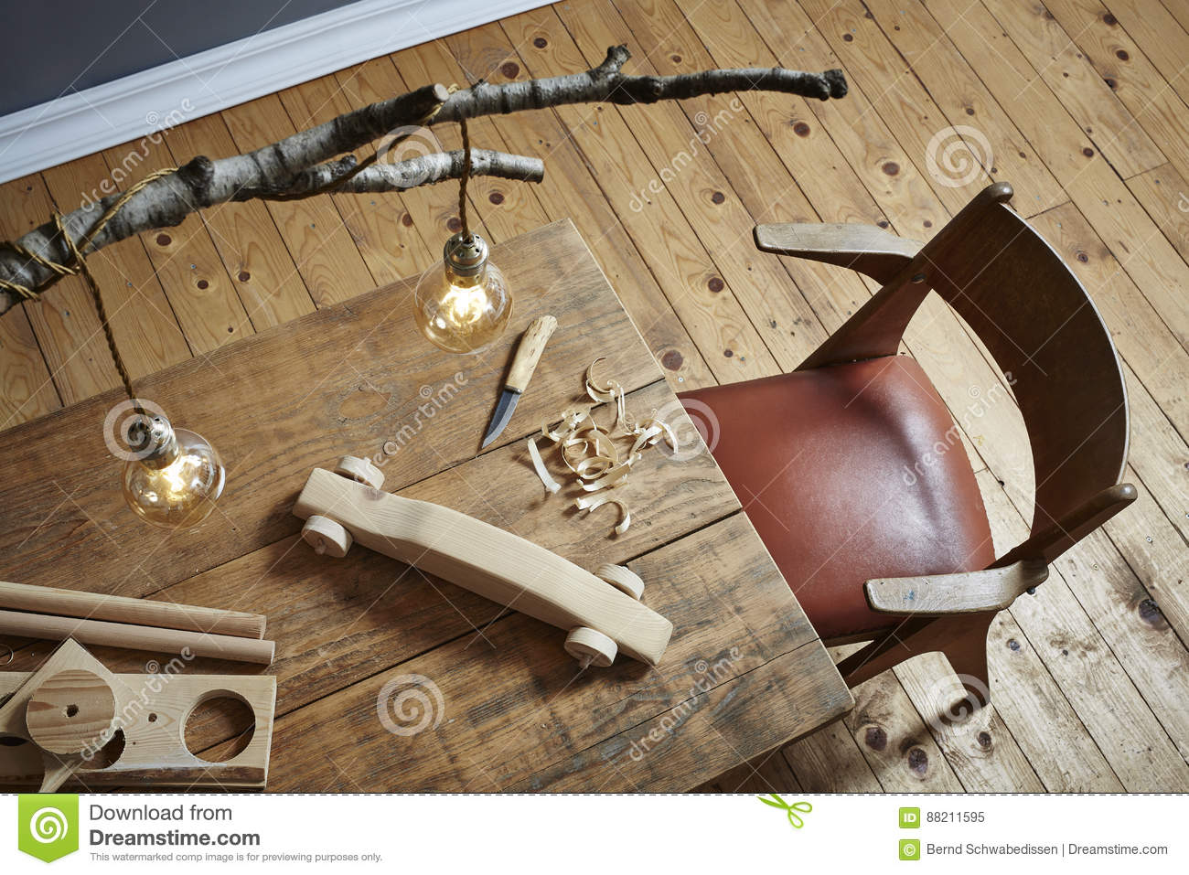 Download Wood Carving Workspace Creative Hobby And Modern Design Stock Image